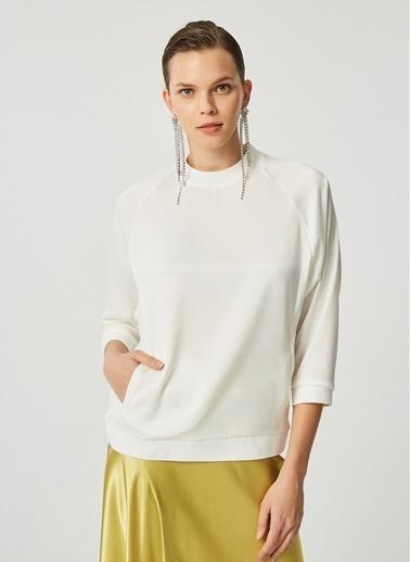 Monamoda Mat Saten Yakası Ribana Bluz Beyaz